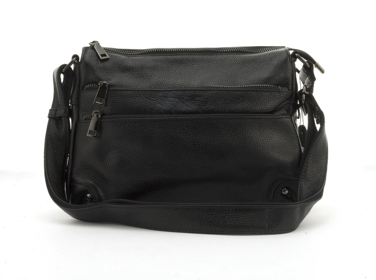 Стильная  женская мягкая сумка из натуральной кожи GALANTY art. 6060 Турция черная