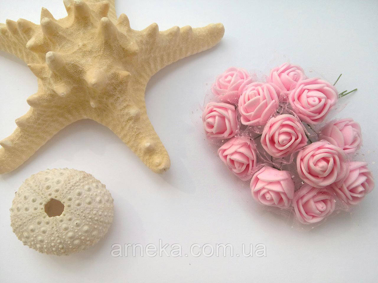 Розы латексные (с фатином) розовые