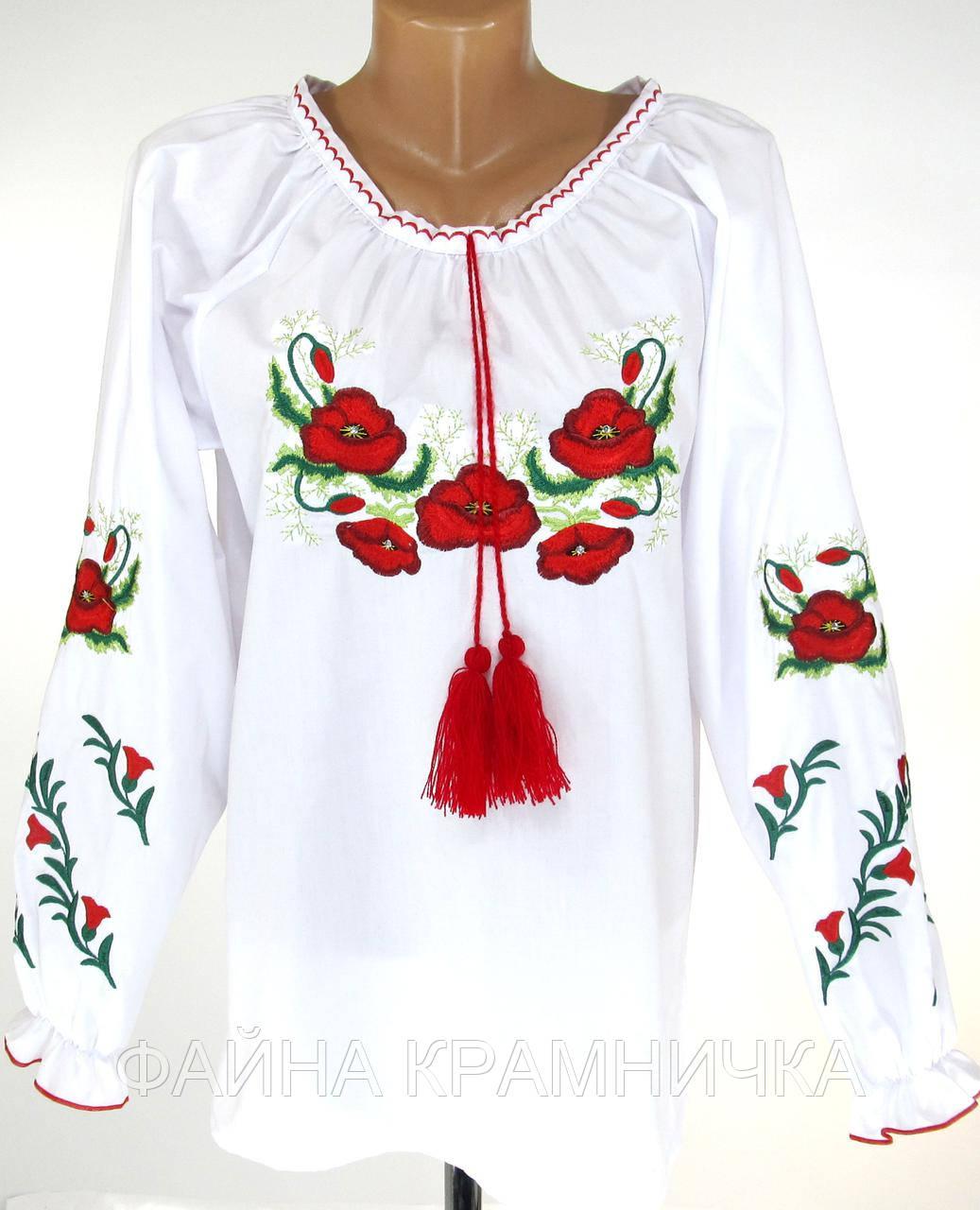 """Сорочка вишиванка підліткова """"МАКИ2"""" зі стразами р-р.146-164"""