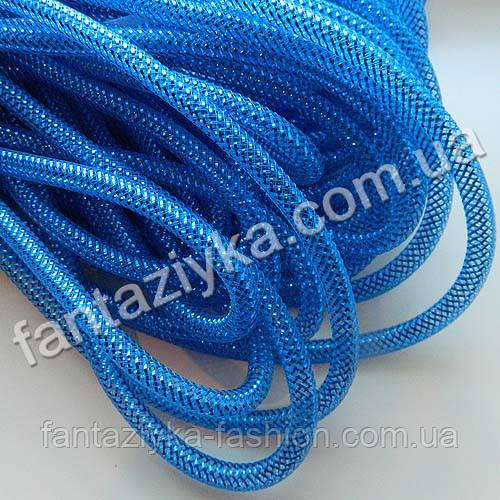Трубчатый регилин с люрексом синий