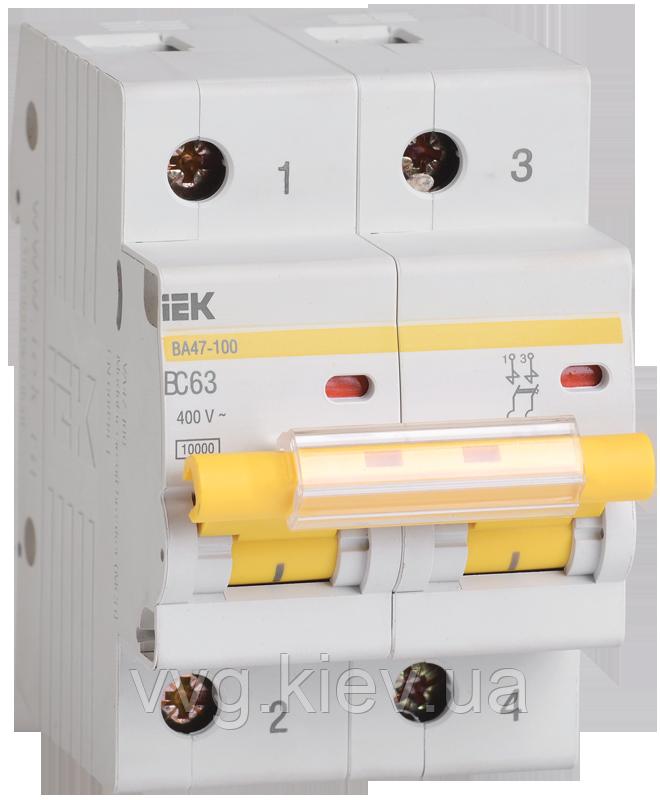 Автоматический выключатель ВА 47-100 2Р 63А 10 кА С IEК