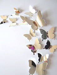 Бабочки 3D для декора 12 шт. зеркальное серебро