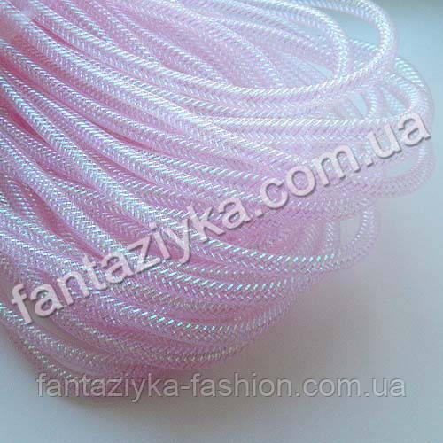 Трубчатый регилин с люрексом светло-розовый