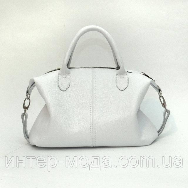 Кожаная женская сумка белый флотар