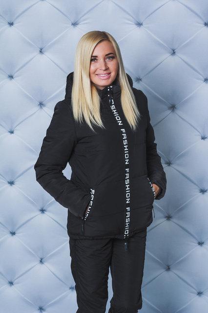 """Очень теплый зимний женский костюм """" Амине"""" (42-58 р-ры)  черный"""