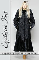 Женская шуба из искусственного каракуля, черный цвет №6