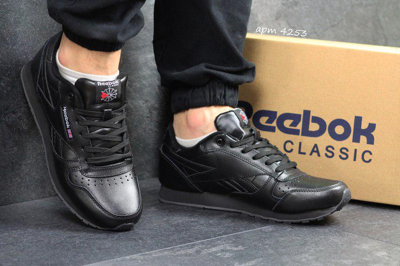 Мужские кроссовки Прессованная кожа, цвет черный 44