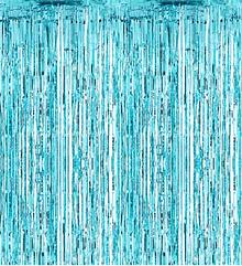 Шторка - занавес из фольги для фото зон, бирюзовая 200х100 см.