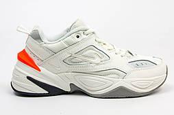 Женские кроссовки Nike M2K Tekno White/Orange. Живое фото (Топ реплика ААА+)