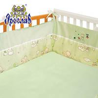 Защита для детской кроватки 100% хлопок салатовая