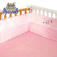 Защита в детскую кроватку 100% хлопок розовая