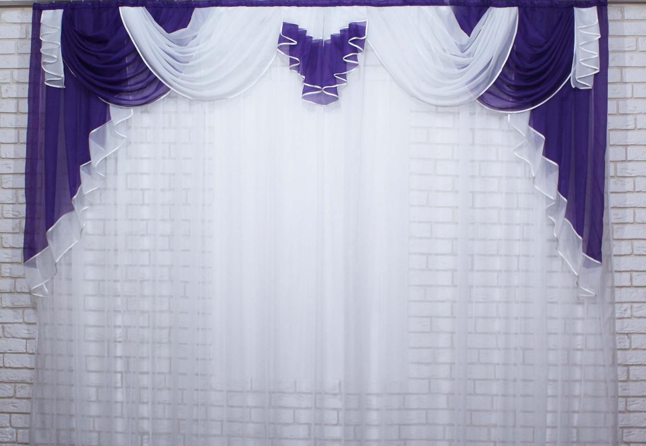 Ламбрекен на карниз 3м. №45 Фиолетовый с белым