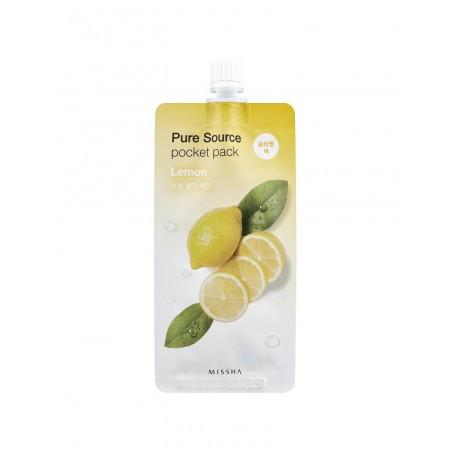 Осветляющая ночная маска с экстрактом лимона MISSHA Pure Source Pocket Pack Lemon, 10 мл