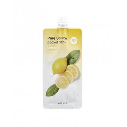 Осветляющая ночная маска с экстрактом лимона MISSHA Pure Source Pocket Pack Lemon, 10 мл, фото 2