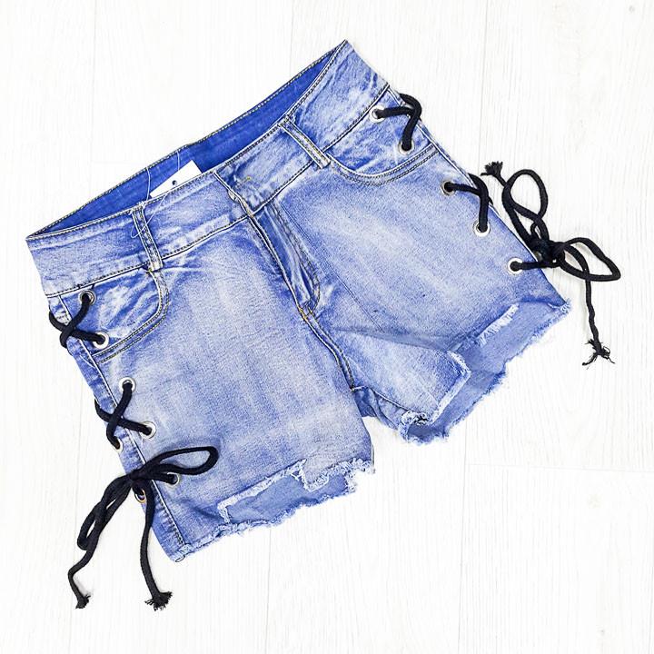 Шорты джинсовые голубые с черной шнуровкой -505-3862