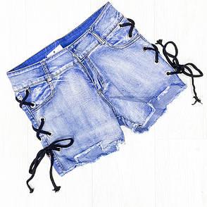 Шорты джинсовые голубые с черной шнуровкой -505-3862, фото 2