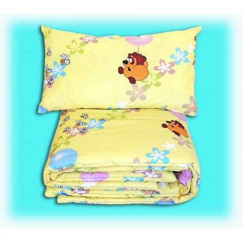 Комплект подушка и одеяло из антиаллергенного силикона Винни Пух