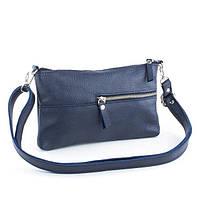 Кожаная женская сумка синий флотар