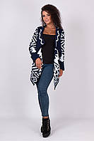 Милая женская кофта кардиган с узорами без застежки 42-46 универсальный размер
