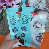 Кислородная тканевая маска Purederm Deep Purifying Black O2 Bubble Mask - Charcoal