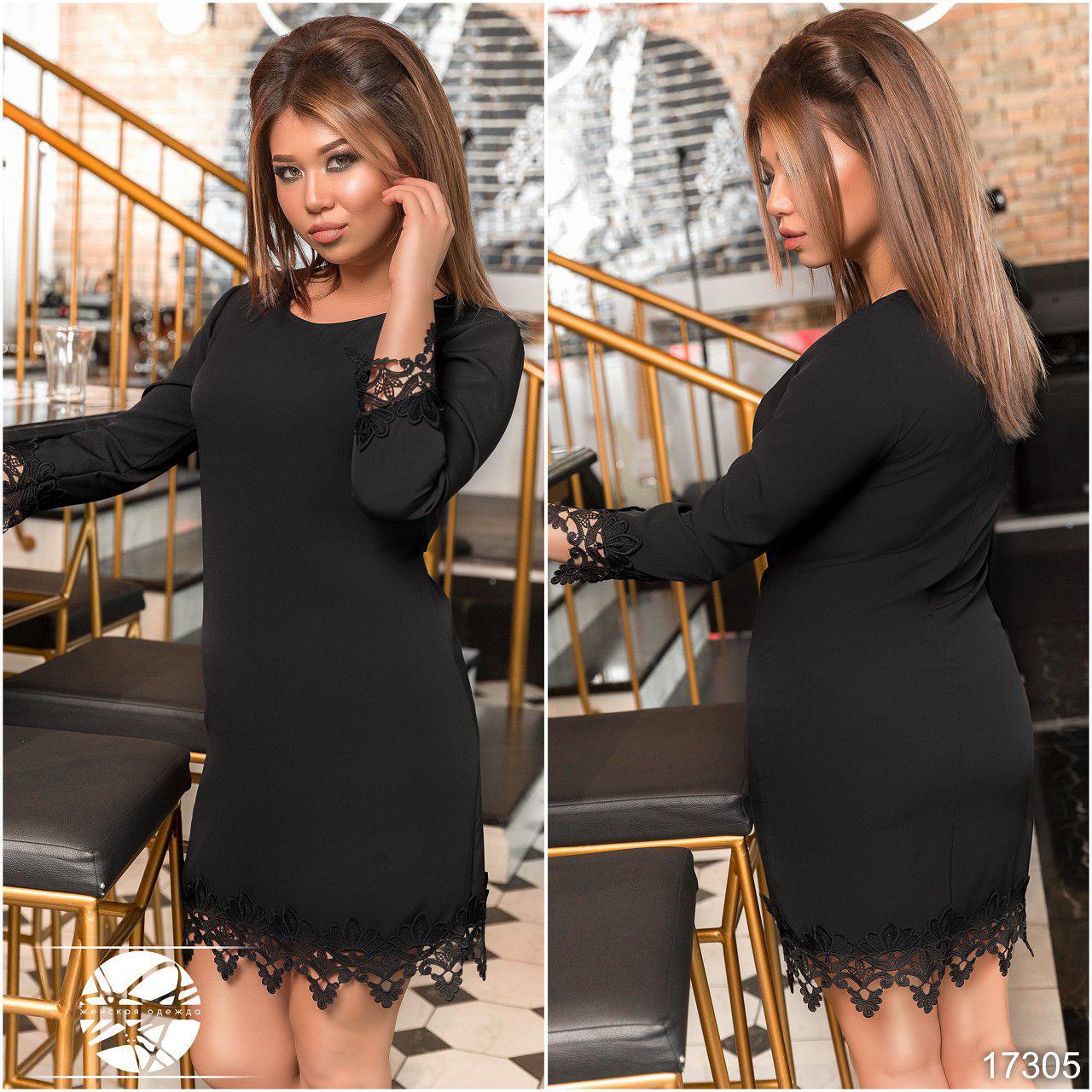 Нежное прямое платье с льняным кружевом по подолу и рукавах