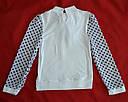 Детская трикотажная блуза белая с темно-синими горошками р. 128-152 cм (Catherine, Польша), фото 3