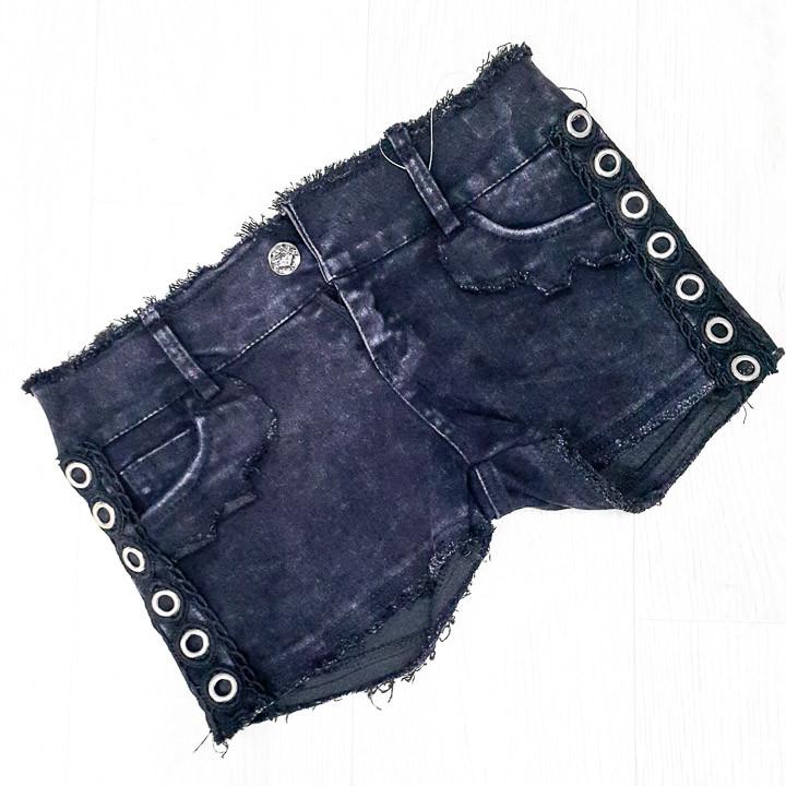 Шорты джинсовые чёрные с гипюром -505-3886