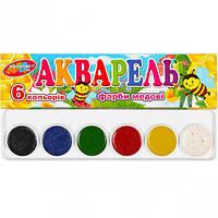 Краски акварельные КОЛОР 6 цветов картон