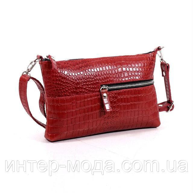Кожаная женская сумка красный кайман