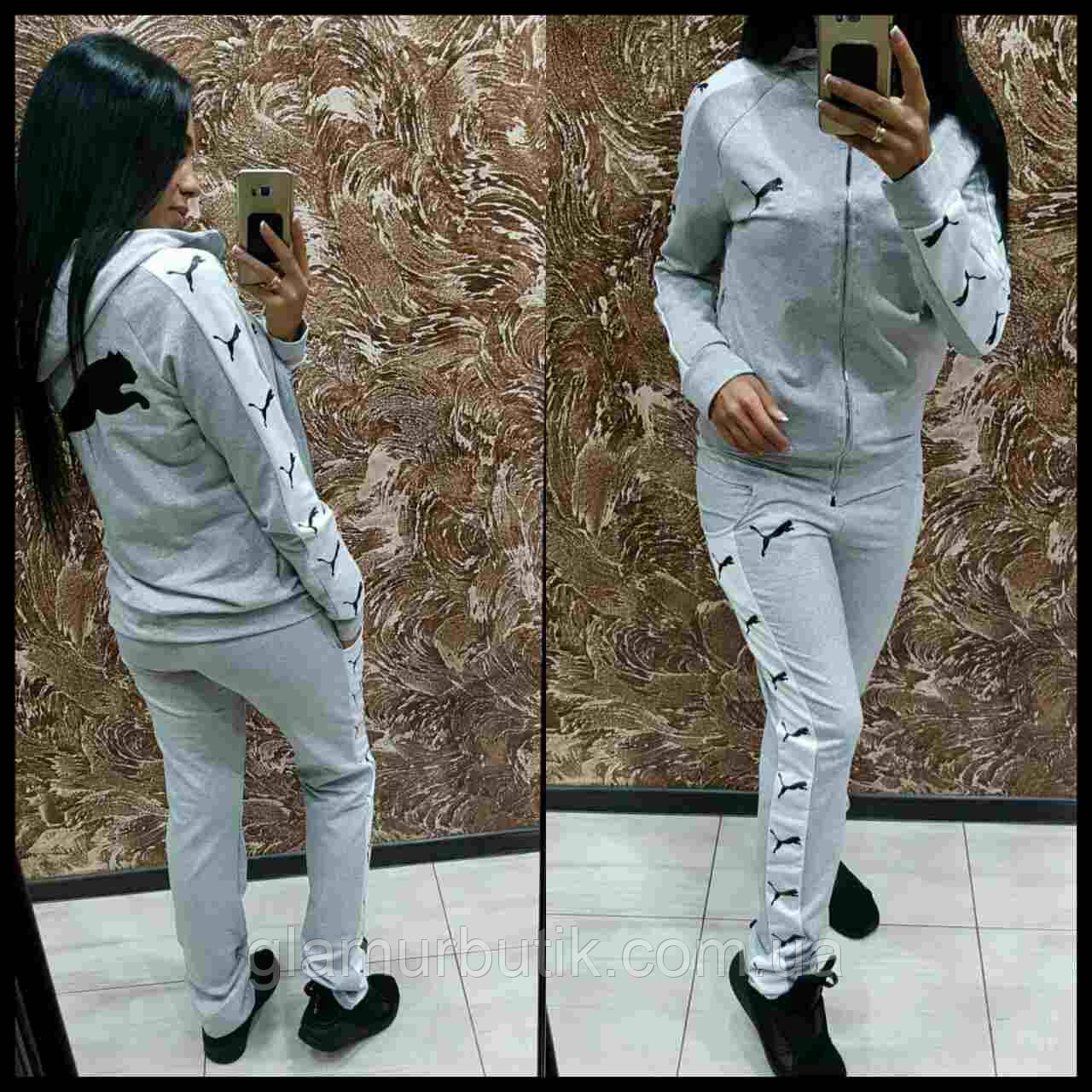 0f6813b7 Спортивный костюм двойка Puma штаны кофта с капюшоном серый S M L -  GlamurButik - женская одежда оптом