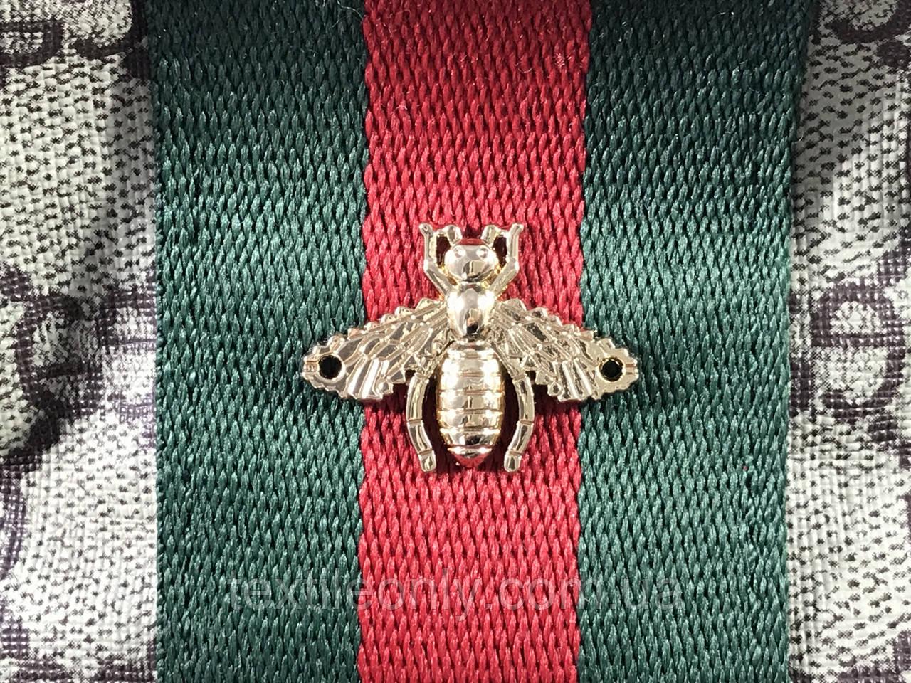 Пришивная металлическая пчела Gucci 27х20 мм