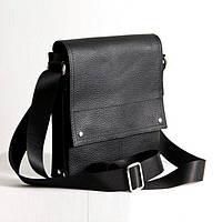 Кожаная мужская сумка черный флотар