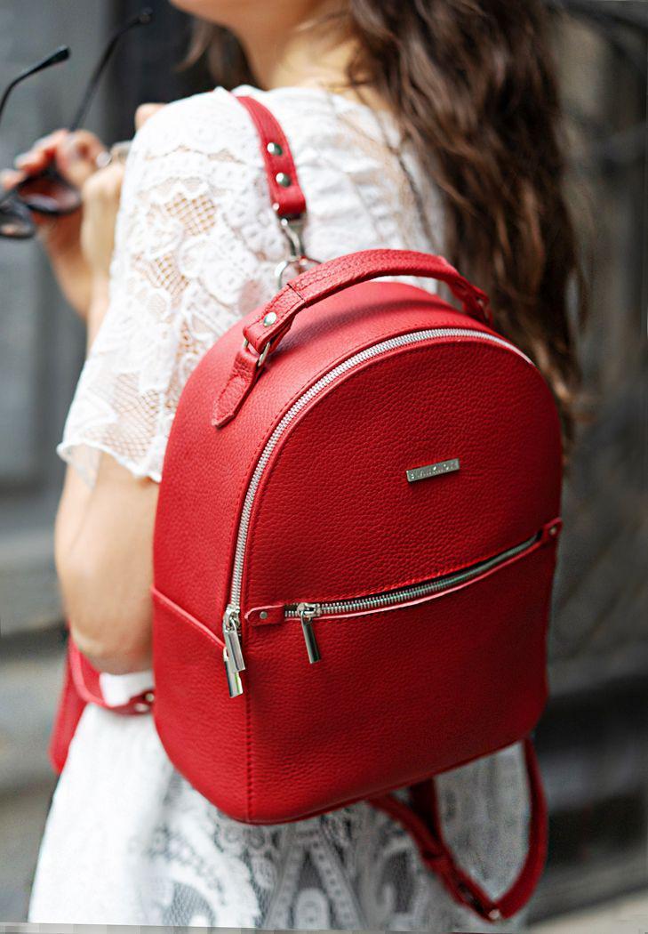 Рюкзак-сумка кожаный женский красный (ручная работа)