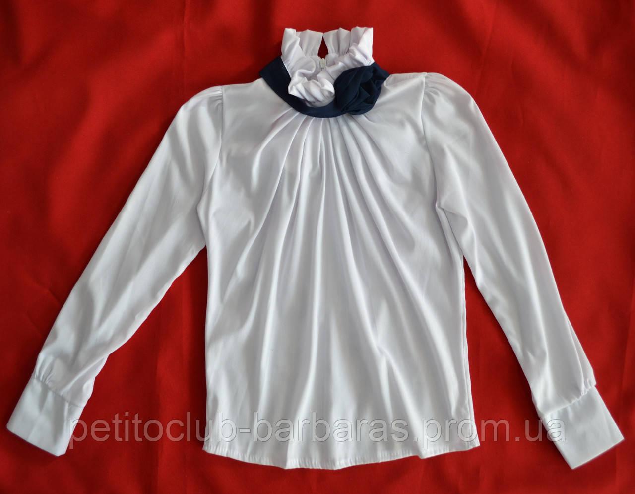 Блуза белая для девочки с темно-синей Розой р. 128, 146 см (Mariatex, Польша)