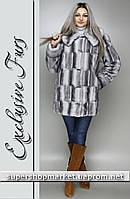 Женская шуба из искусственной норки, светло-серый цвет №21