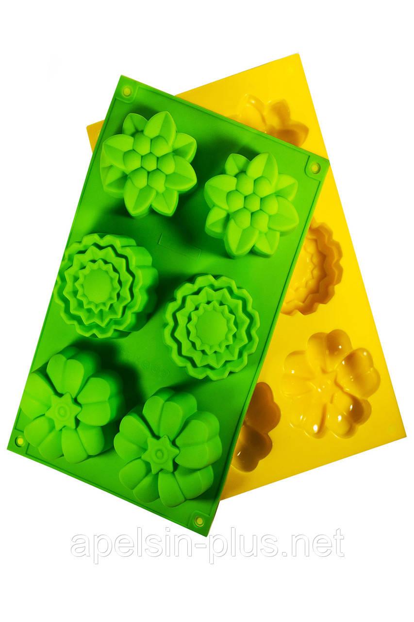 """Силиконовая форма для выпечки кексов """"Цветы ажурные на 6 ячеек"""""""