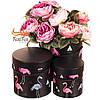 """Набор коробок """"Утонченный фламинго"""" (черный цвет) 3шт"""