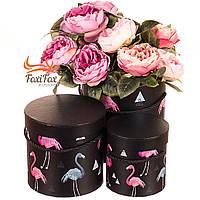 """Набор коробок """"Утонченный фламинго"""" (черный цвет) 3шт, фото 1"""