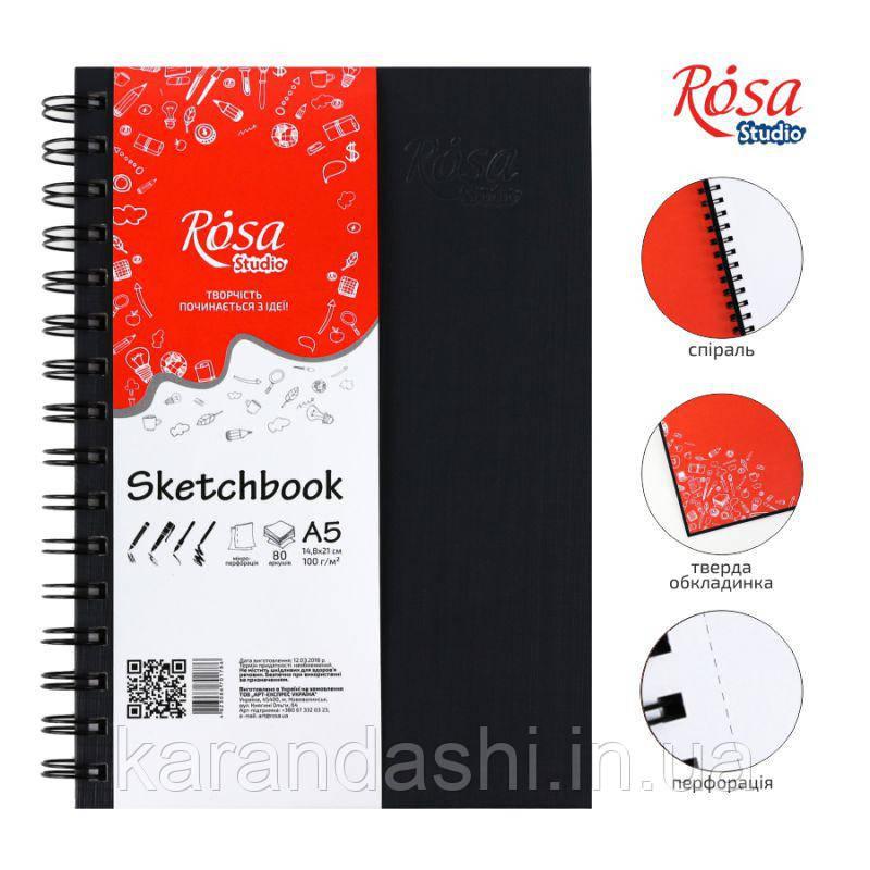 Блокнот А5 Белая бумага 100г/м 80л Черная обложка на спирали ROSA Studio 16R5005