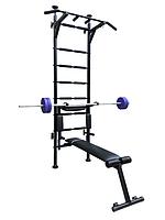 Спортивная шведская стенка усиленная «Fitness Pro Premium New»  чёрная
