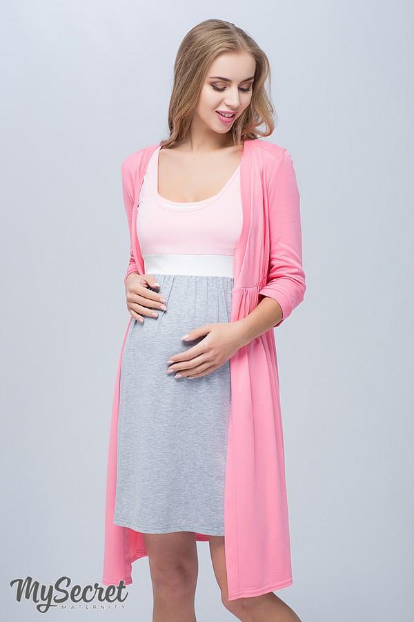 57122ce93af2d Комплект для беременных и кормящих (халат+ночная сорочка), розовый с серым