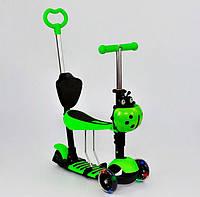 Самокат детский Best Scooter 5 в 1, А 24678 - 3050 салатовый, с родительской ручкой! Свет.колеса.Разные цвета.