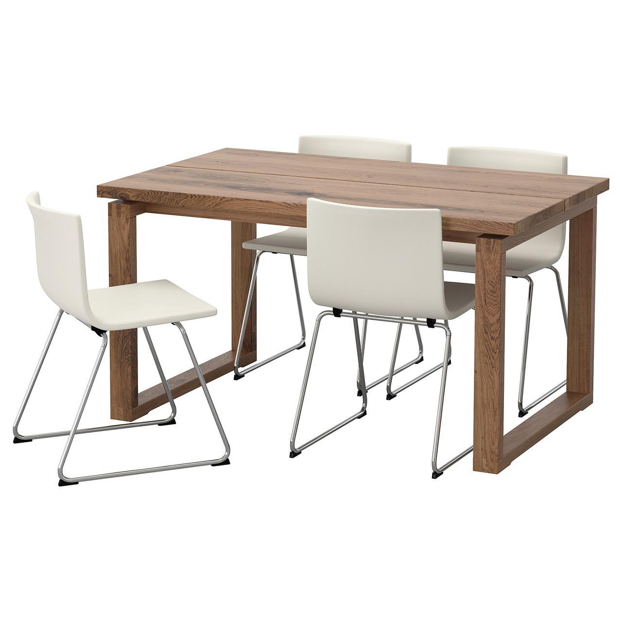 IKEA MORBYLANGA / BERNHARD (592.460.43) Стол и 4 стула