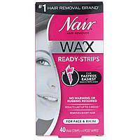 Nair , Средство для удаления волос, восковые полоски, для лица и бикини, 40 восковых полосок + 4 салфетки