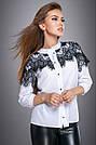 Нарядная женская блузка с кружевом белая софт, фото 2