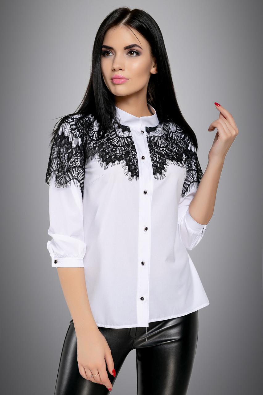 Нарядная женская блузка с кружевом белая софт