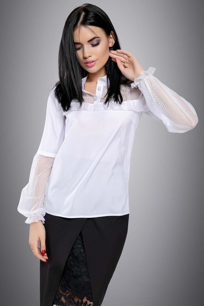 Нарядная женская белая блузка, с сеткой, размеры от 44 до 50