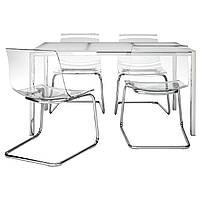 Стол со стульями 4шт, комплект IKEA TORSBY / TOBIAS прозрачный 891.974.18