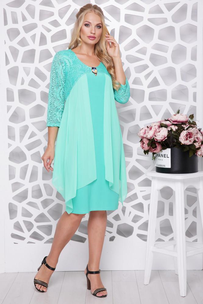 9dde6680495 Нарядное женское платье с шифоновой накидкой батал с 50 по 58 размер -  Стильный бум в
