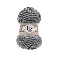 Пряжа ALIZE LANAGOLD PLUS 21 серый меланж (ализе ланаголд Плюс)
